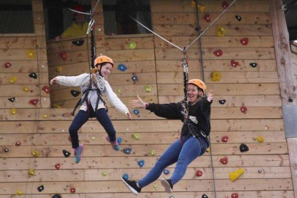 group climbing at let loose